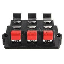 6 Way Stereo Speaker Terminal Connector Plate Block Spring Push Release