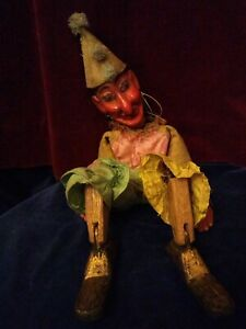 Early 20th century,carved wood,articulated, Clown Marionette, Puppet, Antique