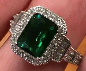 2 Carat Natural Green Emerald & Diamond ring 925 14K white gold vermeil size 8