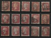 SG 43. 1858-79 Plate Number Issue. Plates 141 To 155 Complete F.U.  Ref:0/30