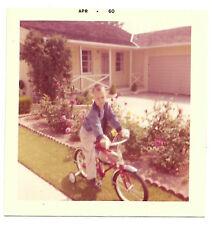 Square Vintage 60s PHOTO Little Boy On Bike Bicycle w/ Training Wheels