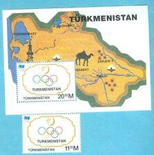 TURKMENISTAN BLOCK UND MARKE LANDKARTE OLYMPISCHE RINGE **