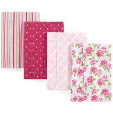 Hudson Baby Girl Flannel Burp Cloth, 4-Pack, Rose