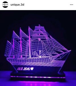 SHIP 3D Colour Changing LED Lamp - Customise for Family, or Birthday Gift