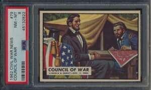1962 Topps Civil War News #79 Council of War  PSA 8  NMMT 57496