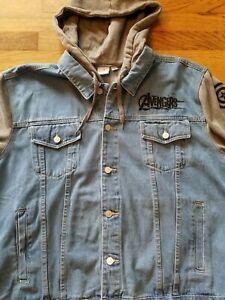 Marvel Comics Avengers Button Up Denim Hooded Jacket Size 2XL