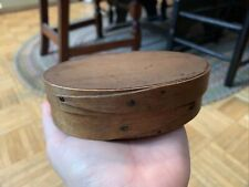 Mid 19th century Thin Form Oval Pantry Box W Iron Tacks & Opposing Fingers