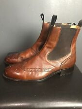 Mercanti Fiorentini Tan Brown Leather Wing Tip Chelsea Boots Made in Italy 9.5