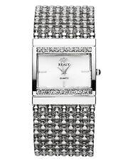 Damen Quarzuhr m. Strass Metall Armbanduhr einfach Analog Uhr Elegant Geschenk
