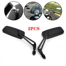 CNC Aluminum Rectangle Black Motorcycle Rearview Side Mirrors 8mm 10mm Black Set