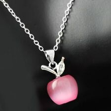 """Apple Necklace with Pink Simulated Cat Eye Stone Crystals White Gold Plated 18"""""""