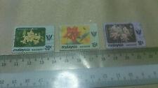3 Malaysia Sarawak 20, 15, and 10 Stamp Flower Themed Arts
