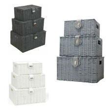 Set of 3 Resin Wicker Wove Baskets Storage Hamper Box Storage With Lid Lock UK