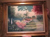 "Oil Painting LANDSCAPE with Child and Mother Framed Original Vintage 28.75 x 22"""
