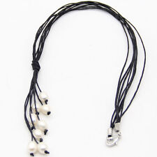 "new stylish black Beige leather cord and white freshwater pearl necklace 20""Long"