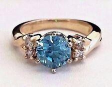 14k Yellow Gold Natural 1.5ct Blue Zircon and Diamond Ring December Birthstone!