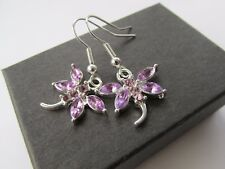 Handmade Lilac Purple Stone Inset Dragonfly Pendant Earrings ~ Perfect Gift Idea
