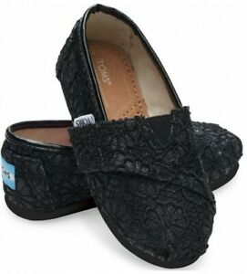 Tiny Toms Girl's Classic Black Crochet Glitter Canvas Shoes Sz. 12.5 Youth NWT