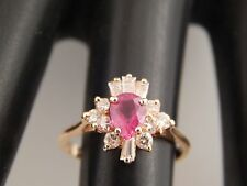 1.11 tcw Natural  AAA+ Natural Pear Ruby & Diamond F/SI Ballerina Ring 14k YG