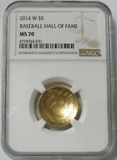2014 W GOLD $5 BASEBALL HALL OF FAME PROOF COIN NGC PF 70 ULTRA CAMEO