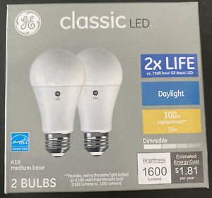 GE Classic LED 100 Watt Replacement, Daylight, A19 Medium Base, 2 Bulbs, New