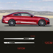 Auto Both Sides Body Stickers Vinyl Stripe Graphic Racing Sports Styling White