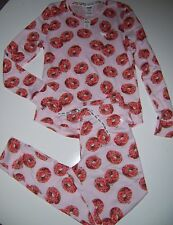 NWT Victoria's Secret PINK donut Thermal Pajamas  Pants top Set doughnut XS New