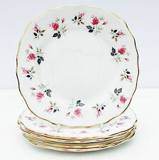 Vintage Royal Osborne Bone China Set 5 Tea Plates Pink Roses