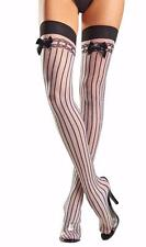 Vertical Striped Thigh Highs Stockings with Satin Bows Nylons Sheer Opaque BW643