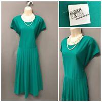 Fashion Extra Green Pleated Retro Dress UK 18 EUR 46