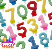Glitter Number Candles Solid Colour Birthday Party Cake Decoration Topper Picks