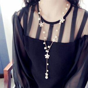Jewelry Sweater Chain Fashion Necklace Pearl Flower Women Long Pendant Elegant