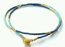 Afghan Natural Turquoise, Lapis Lazuli Tiny Seed Beads Necklace Jewelry Handmade