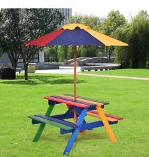 Children's in legno Rainbow Garden Tavolo Da Picnic Set di ombrellone Bench Kids