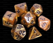 7 Piece Polyhedral Dice Set - Mountain Heart Gold & Brown Marble - Brown Bag