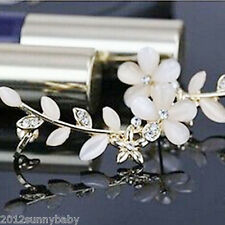 Stylish Women Flower Leaf Shape Rhinestone Crystal Golden Ear Cuff Clip Earrings