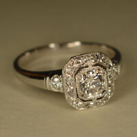 2.37Ct Antique Art Deco Diamond Halo Engagement Ring 14K White Gold Finish