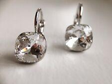 Dangle square 8mm clear Swarovski crystal with bella pierced earrings