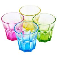 4, 8, 12 x Multi Coloured 240ml Drinking Glasses Set Dining Water Juice Tumblers