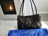 EUC Stuart Weitzman Fudge Sioux Tortoise Brown Croc Patent Leather Shoulder Bag