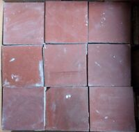 "Genuine Victorian Red Reclaimed Square Quarry Floor Tiles 4"" Terracotta Salvaged"