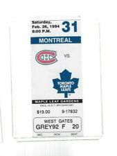 NHL Hockey Ticket Stub 1994 - MONTREAL CANADIENS VS TORONTO MAPLE LEAFS  Gilmour