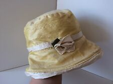 Handmade Gorgeous Yellow   Cream Raw Silk Cloche Flapper Style Hat 51100407f958