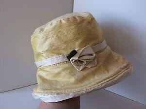Handmade Gorgeous Yellow & Cream Raw Silk Cloche Flapper Style Hat
