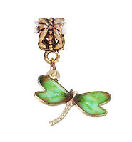 Green Dragonfly Insect Bug Enamel Gold Tone Dangle Charm for European Bracelets
