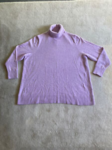 LANDS' END Woman's 100% Pure Cashmere Lilac Roll Neck. Size XL