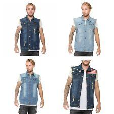 Mens Denim Lapel Vest Casual Sleeveless Slim Fit Ripped Biker Jeans Vests Jacket