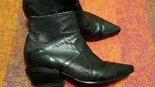 VIC MATIE Black Pointy Toe perforated Leather structured Heels Size 38.5 ITALY