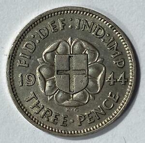 1944 UK King George VI Silver Threepence