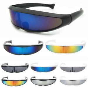 Mens Cyclops Sunglasses Futuristic Men Mirror Narrow Lens Laser Visor 10 Colours